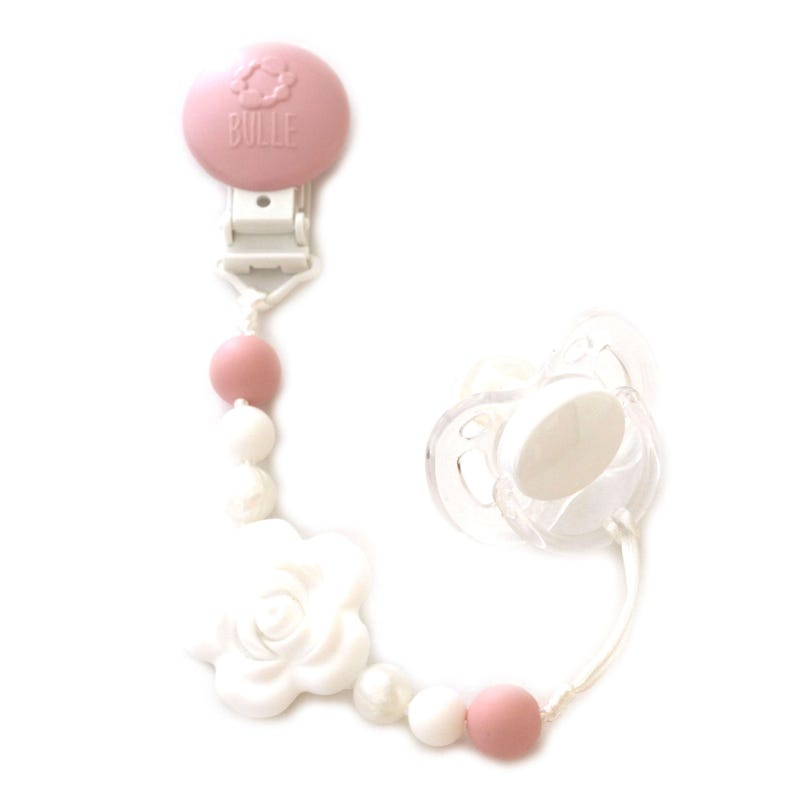 Flower Pacifier Clip - White/Pearl/Pink