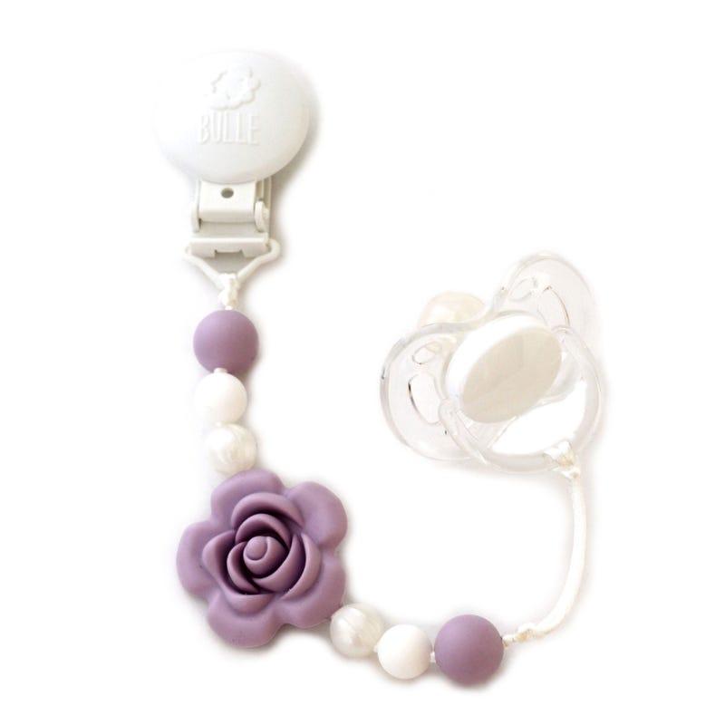 Flower Pacifier Clip - Lavender/Pearl/White