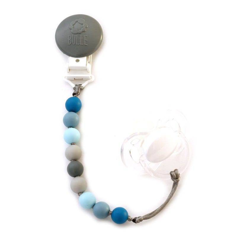 Attache-Suce Mini Gris et Bleu Océan