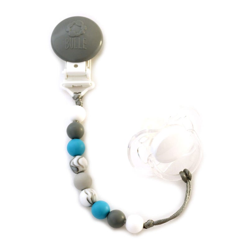 Mini Pacifier Clip - Gray/Marble/Blue