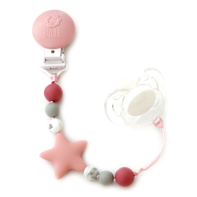 Star Pacifier Clip - Pink/Marble/Gray