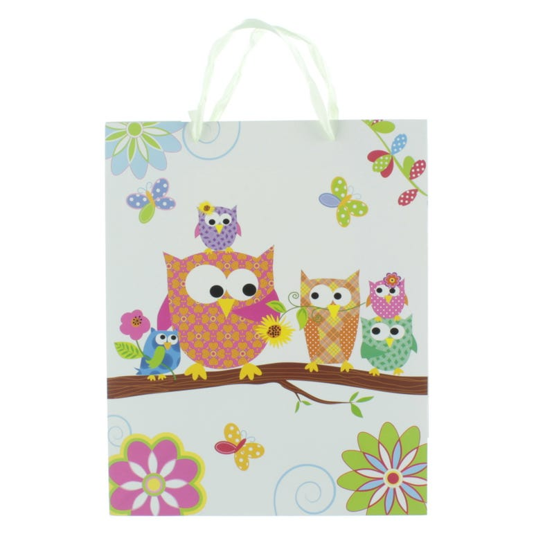 Gift Bag - Pink Owls
