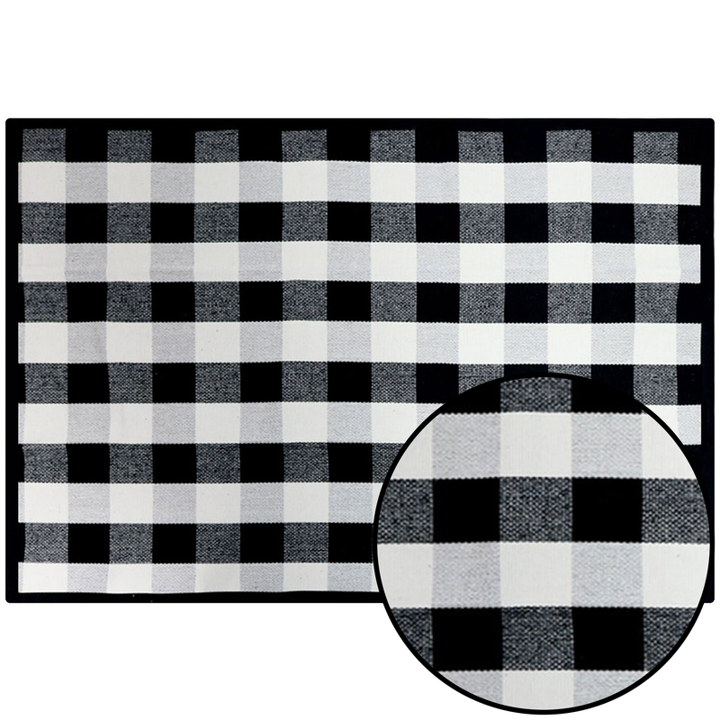 Plaid Decorative Rug - Black/White