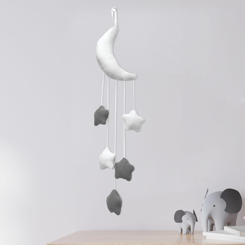 Murale Lune Étoilé - Blanc / Gris