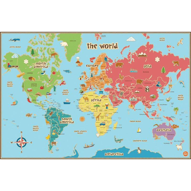 Dry Erase - Kids World Map