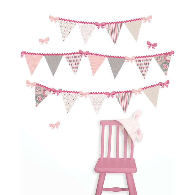 Wall Stickers - Hailey Pennant Pink Triangle
