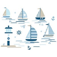 Wall Stickers - Blue Ships Ahoy