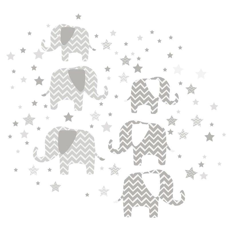 Autocollants Elephants Gris