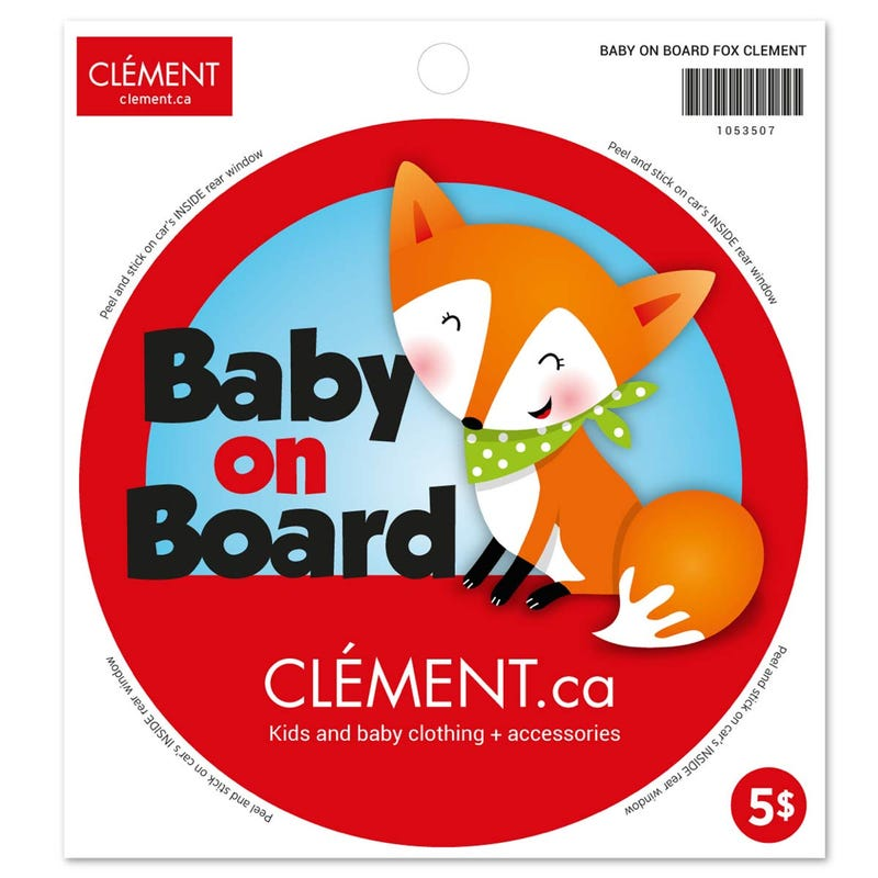 Baby On Board Sticker - Fox (English)