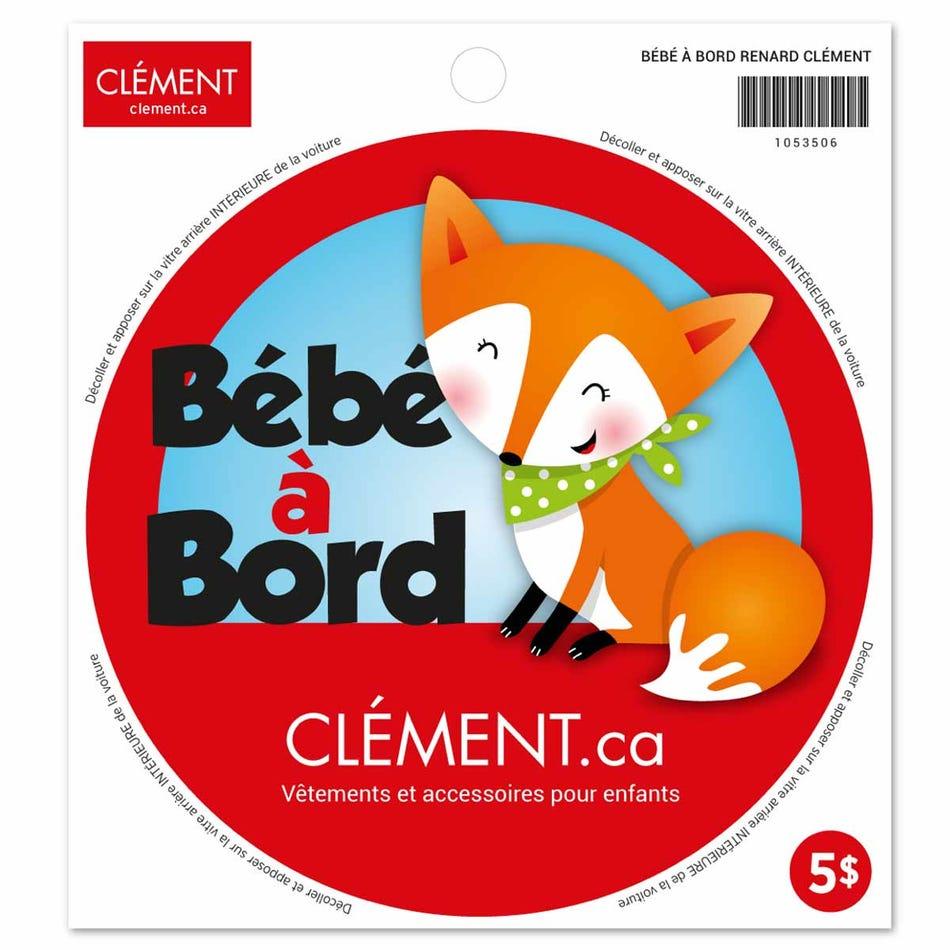 tout neuf 4511e bfad0 Clément - Gear Bébé à Bord Sticker - Fox (French) - Clement