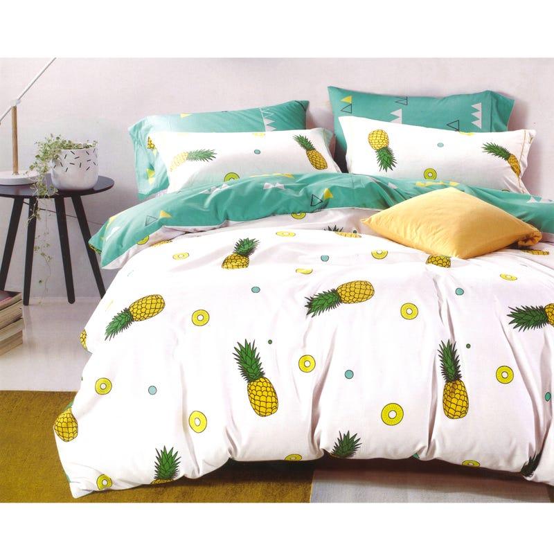 Housse Lit Jumeau Ananas - Blanc