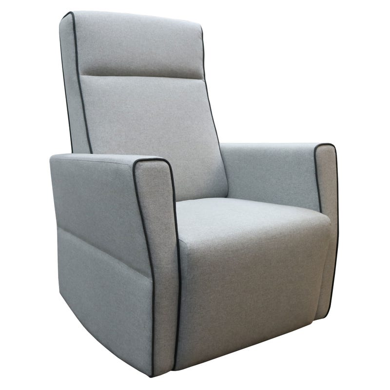 Moderno Gliding Armchair - Fogo - Matte Black Wooden Feet, Pale Gray Fabric #5288 And Dark Gray Piping #5287