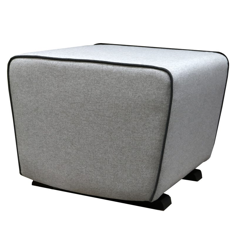 Moderno Gliding Ottoman - Matte Black Wooden Feet, Pale Gray Fabric #5288 And Dark Gray Piping #5287