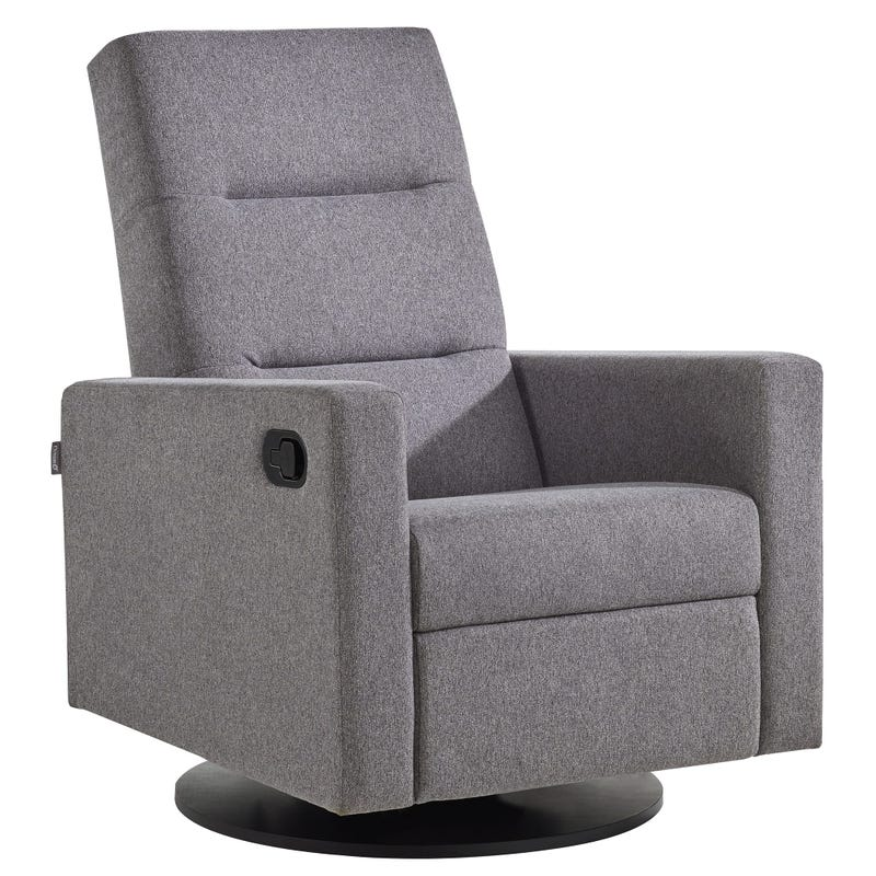 Kallia Swivel Glider - Matte Black Wooden Base And Gray Fabric #3128