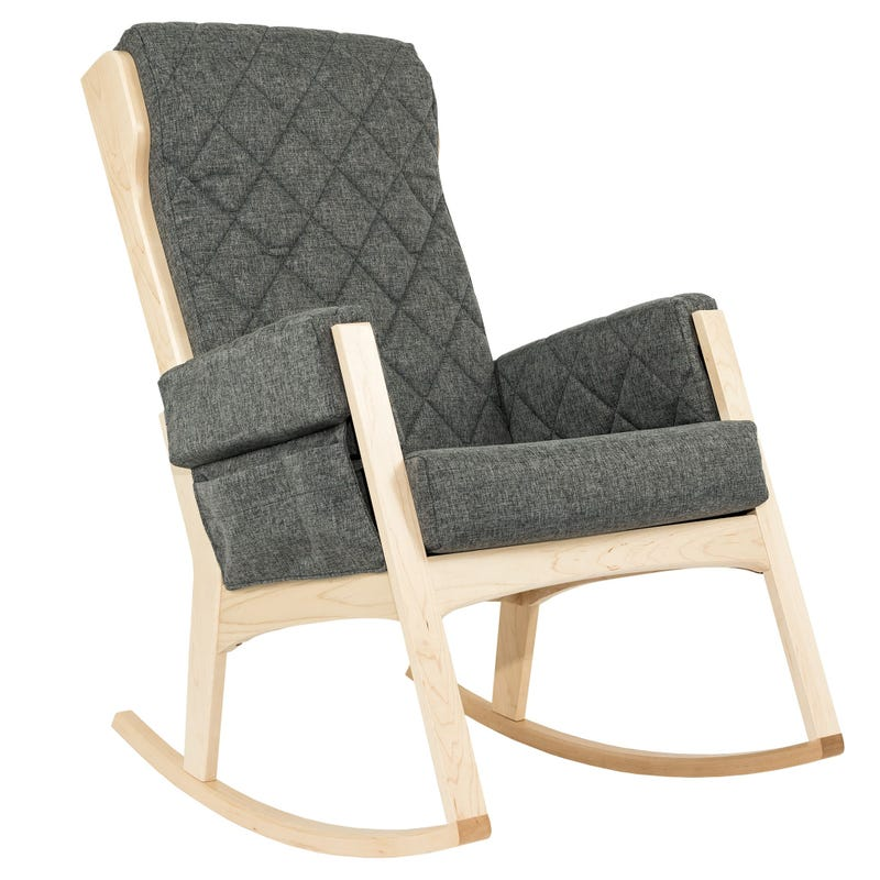 Margot Rocking Chair - Natural Wood / Non-Washable Fabric Ash Grey #3140