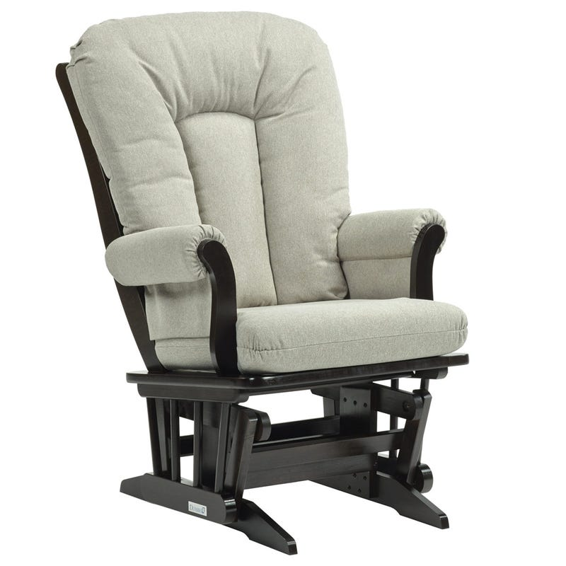 Rocking Chair - Espresso Wood And Pale Gray Fabric #3124
