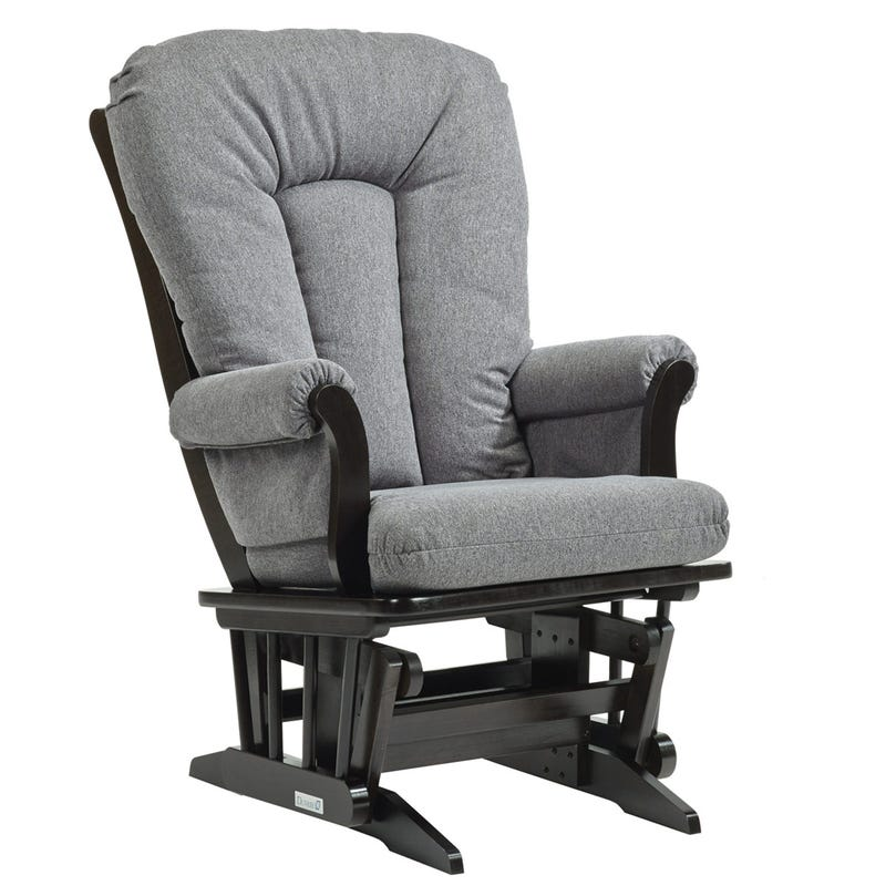 Rocking Chair - Espresso Wood And Gray Fabric #3128