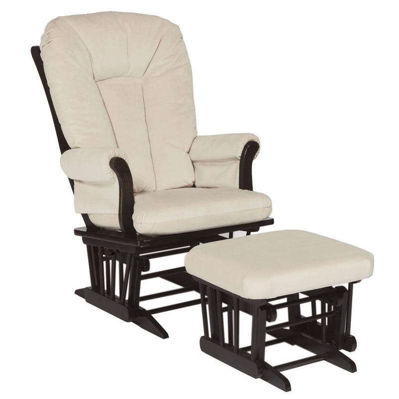 Chaise et Tabouret Berçants - Bois Espresso et Tissu Beige #3093