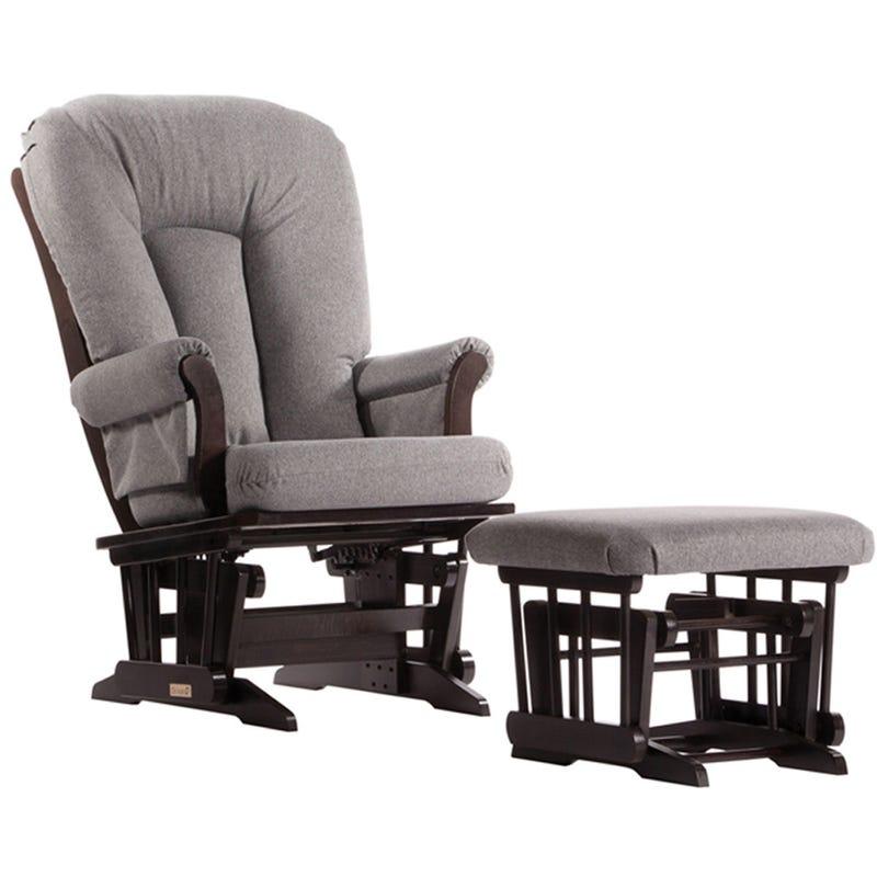 Chaise et Tabouret Berçants - Bois Espresso et Tissu Gris #3128