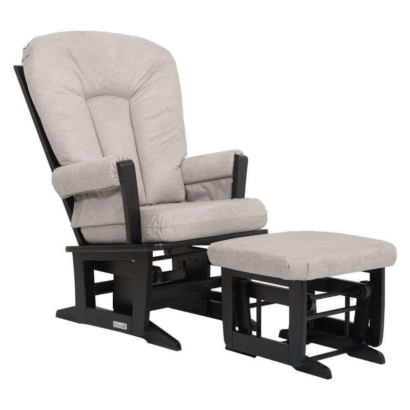 Chaise et Tabouret Berçants - Bois Noir et Tissu Gris #5252