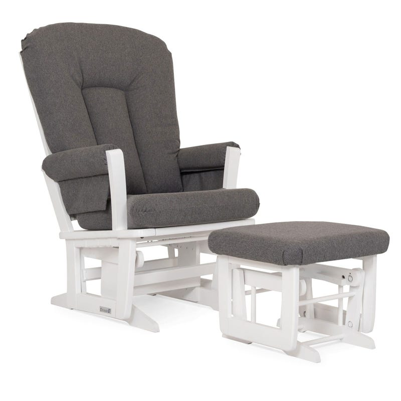 Rocking Chair and Gliding Ottoman - White Wood And Gray Fabric #3128