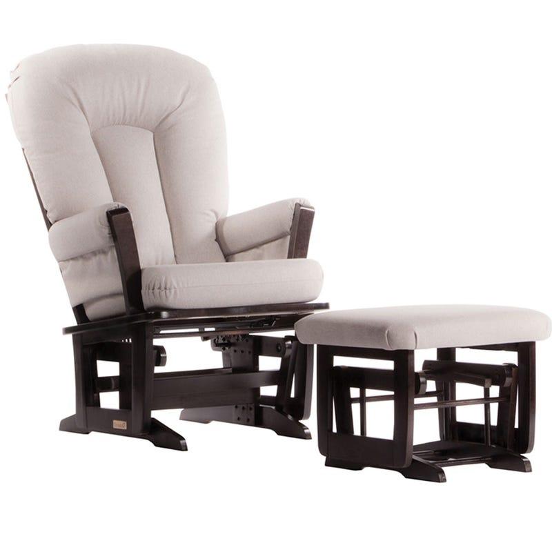 Chaise et Tabouret Berçants - Bois Espresso et Tissus Gris Pâle #3124