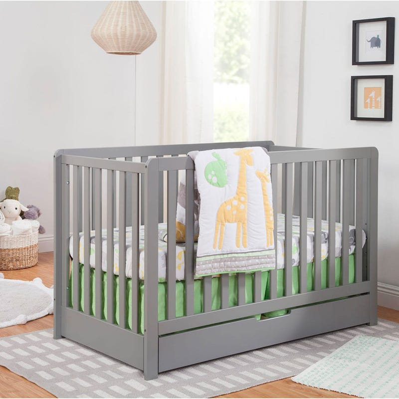 Colby 4-in-1 Convertible Crib with Trundle Drawer - Grey