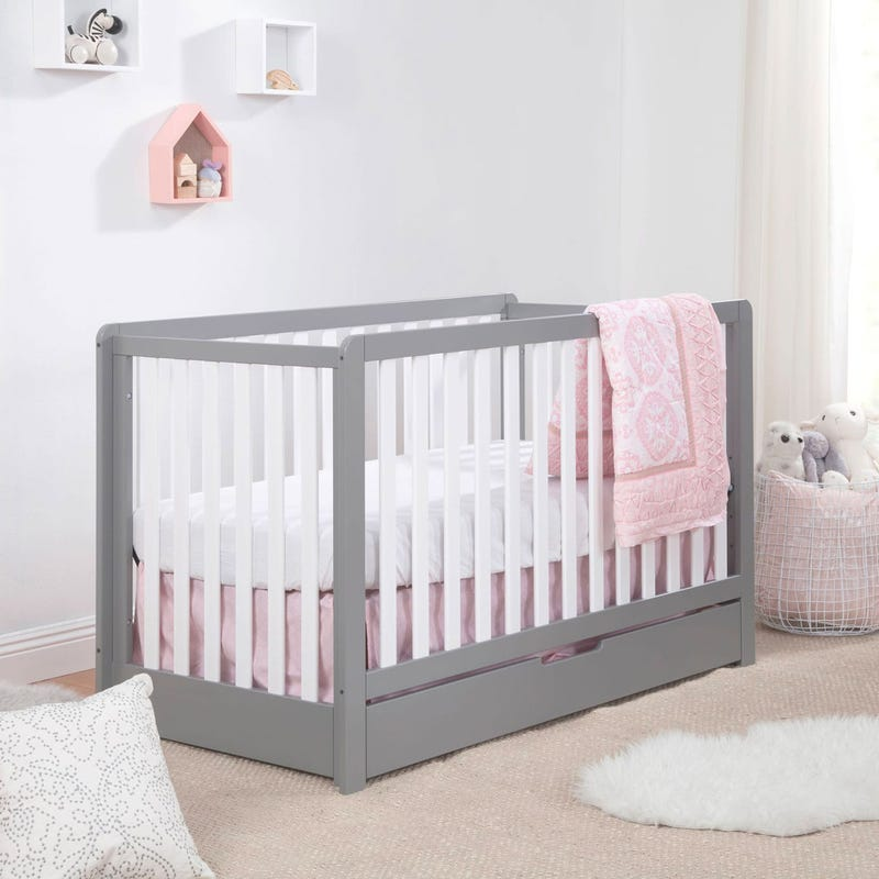 Colby 4-in-1 Convertible Crib with Trundle Drawer - Grey / White