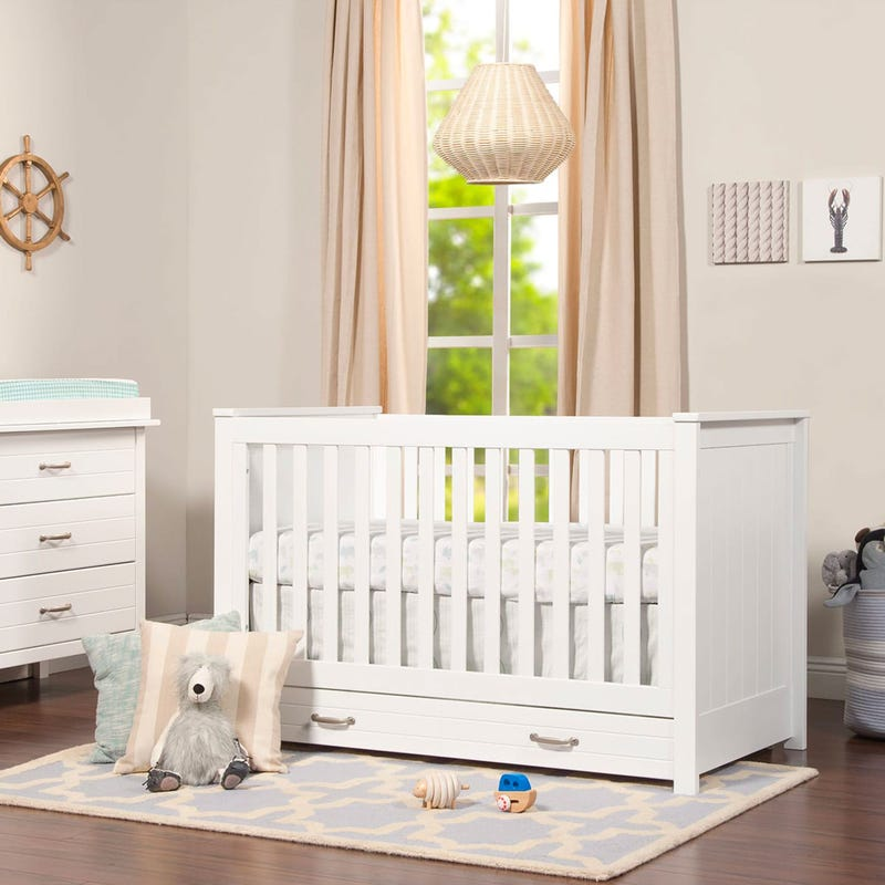 Asher 3-in-1 Convertible Crib with Toddler Bed Conversion Kit - White Finish