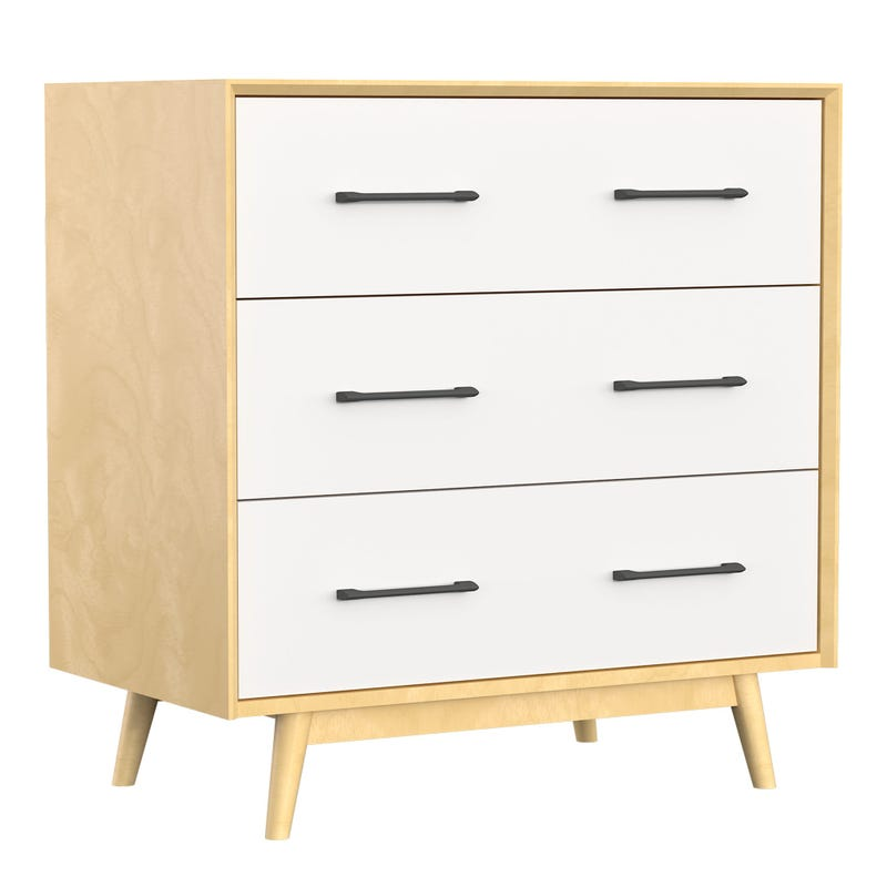 Lollipop 3 Drawers Dresser Small - Natural/White