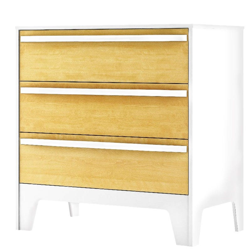 Chest 3-Drawers Caramel - White/Natural