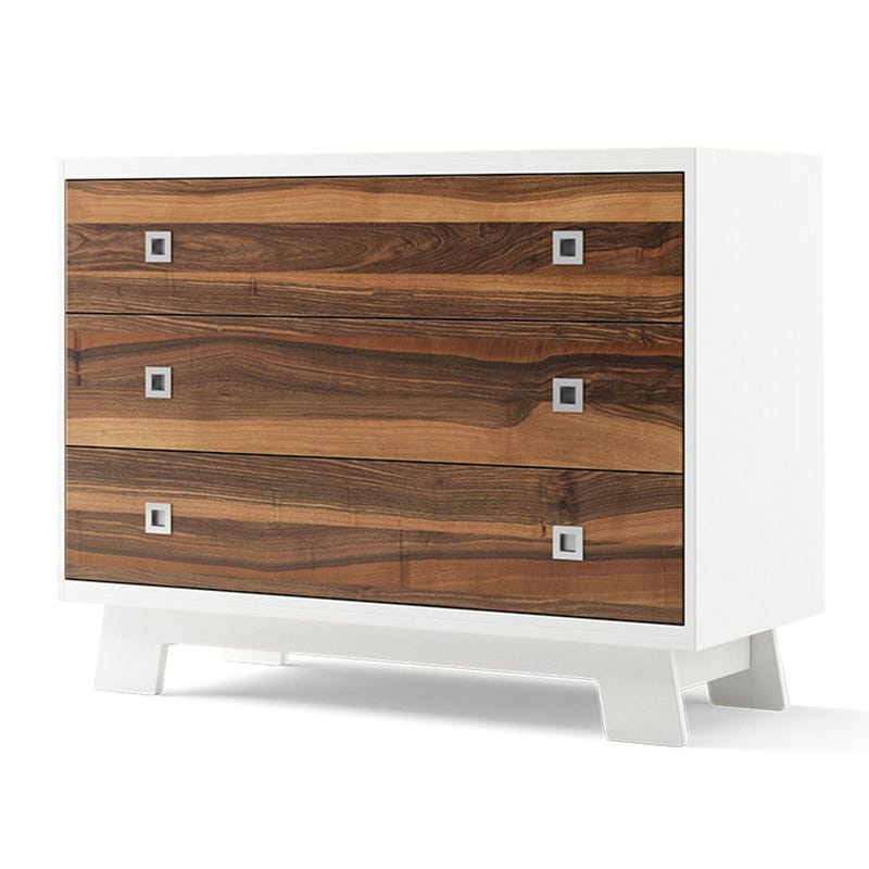 Pomelo 3-Drawers Dresser - White and Natural Walnut