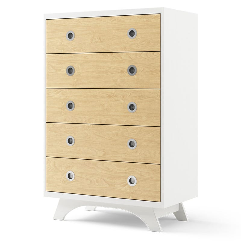 Melon 5-Drawers Dresser - White and Natural