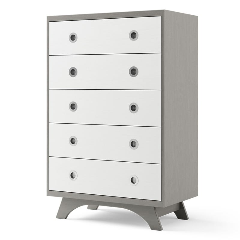Melon 5-Drawers Dresser - Grey and White