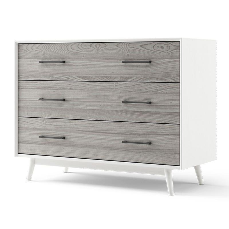 Lollipop 3-Drawers Dresser - White and Rustic Grey Walnut