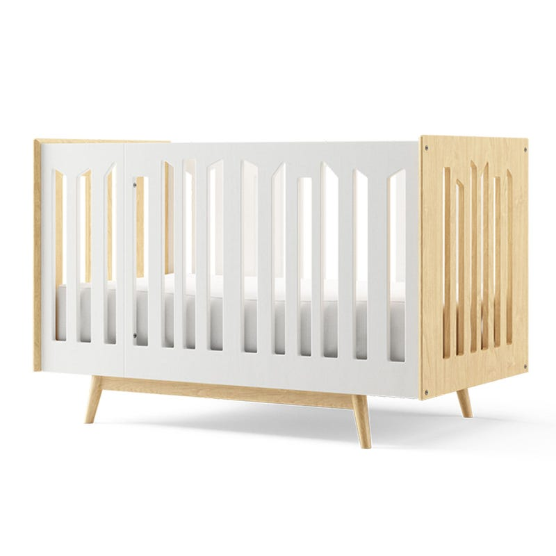 Lollipop 4 in 1 Crib - Natural and White