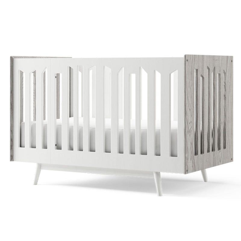 Lollipop 4 in 1 Crib - Rustic Grey Walnut and White
