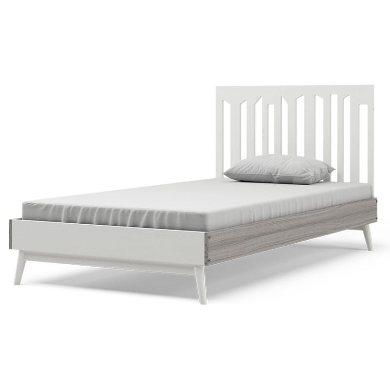 Lollipop Twin Bed - White and Rustic Grey Walnut