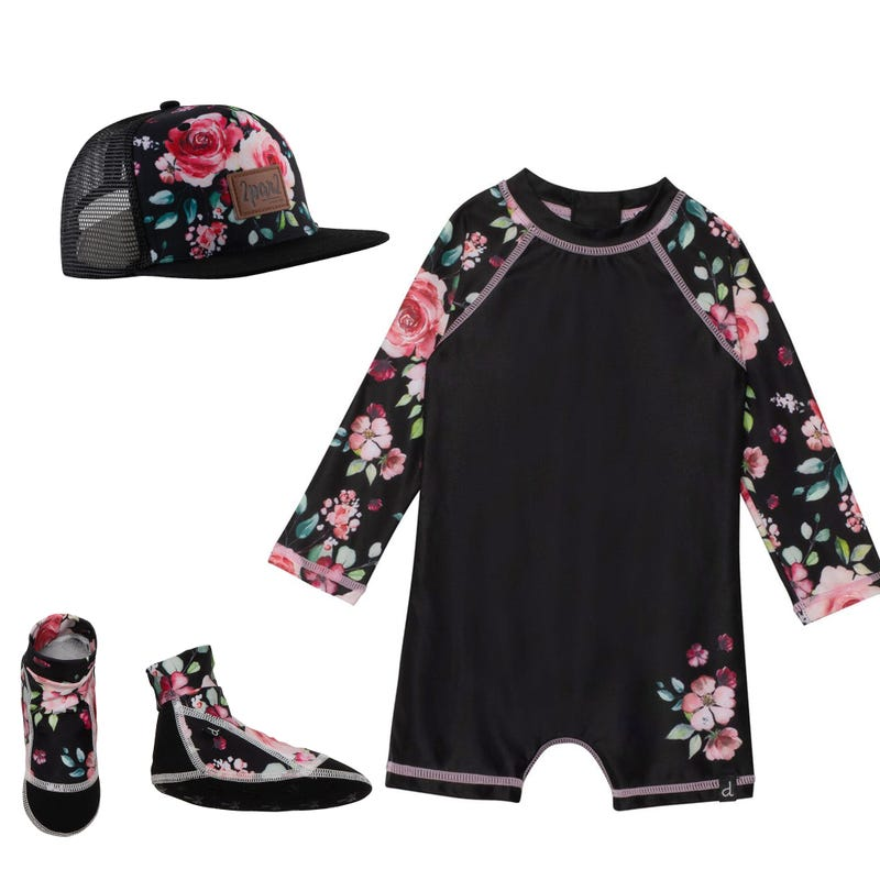 Bundle Swimsuit+ Cap + Slippers 3-24 m - Flowers