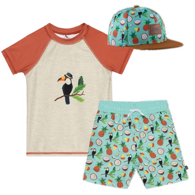 T-shirt maillot + Short + Casquettes 2-6 ans - Toucan