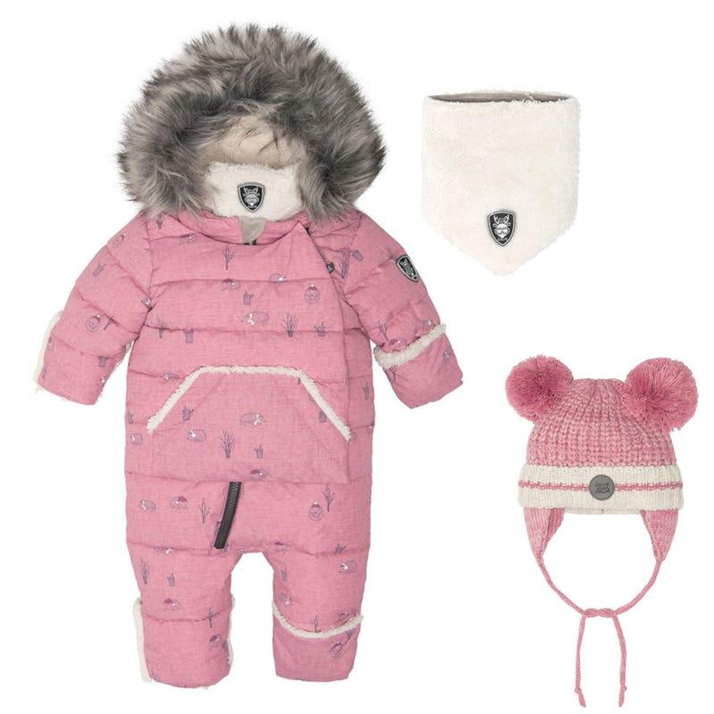 Hedgehogs Snowsuit + Hat 6-18m - Pink