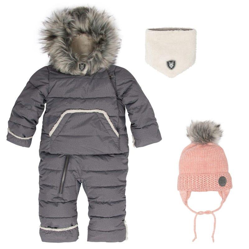 Pinch Test Snowsuit 6-30m + Hat - Grey