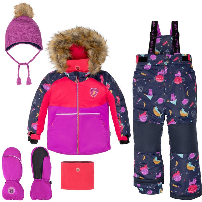 Cats Printed Snowsuit 2-12y+ Hat + Mittens - Navy