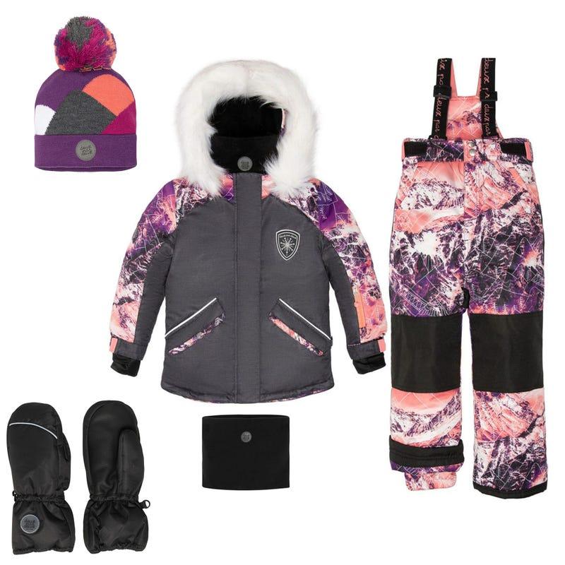 Habits de neige imprimé Montagnes + Accessoires 2-12ans - Noir