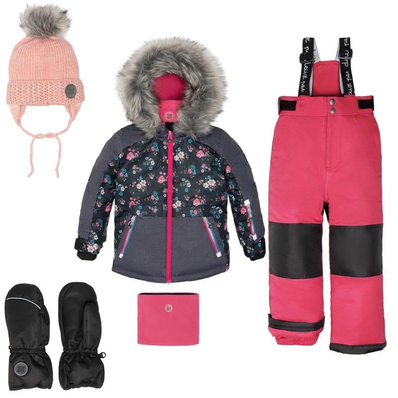 Flowers Printed Snowsuit  + Accessories 2-12Y - Dark pink