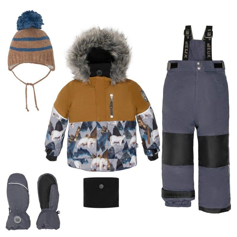 Bear Printed Snowsuit + Accessories 2-12Y - Black