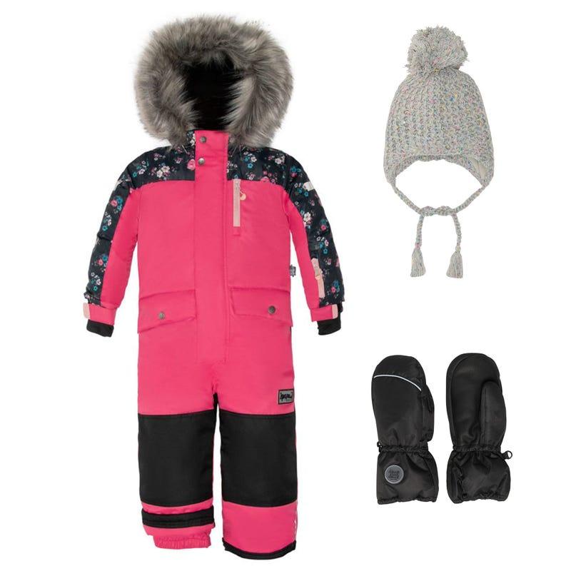 Flowers One Piece Snowsuit + Hat 2-6y - Dark Pink