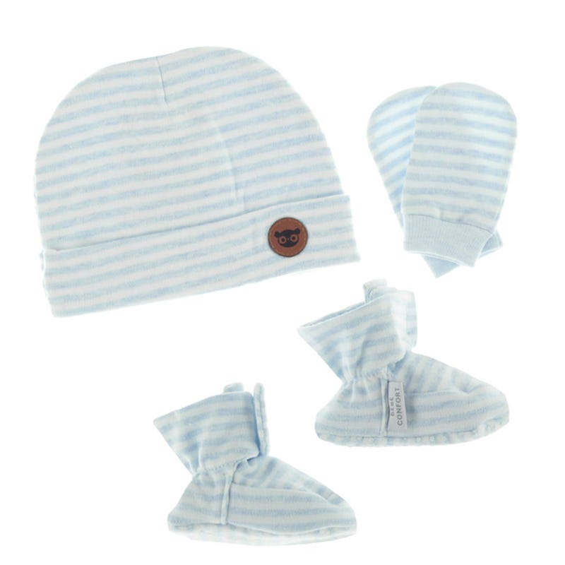 Baby Hat, Slippers and Mitts set - BLUE