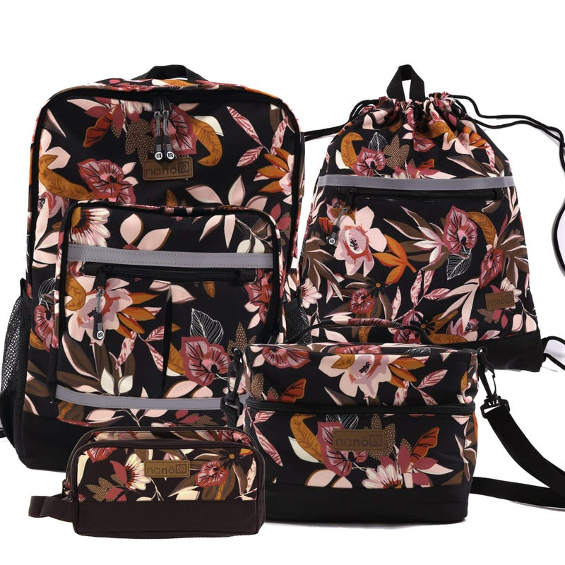 Backpack + Carryall bag + Lunch Box + Pencil Case - Flowers