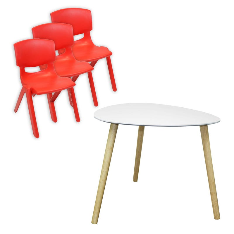 Ensemble Table + 3 chaise - Rouge